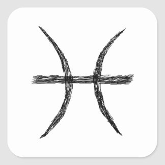 Pisces. Zodiac Astrology Sign. Black. Square Sticker