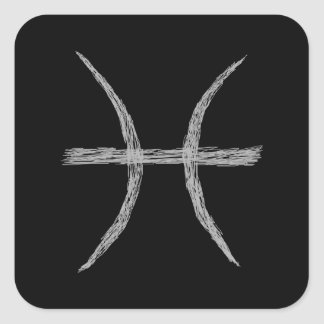Pisces. Zodiac Astrology Sign. Black. Stickers