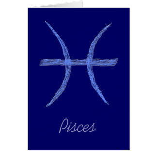 Pisces. Zodiac Astrology Sign. Card