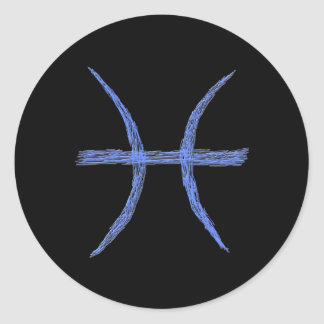 Pisces. Zodiac Astrology Sign. Classic Round Sticker