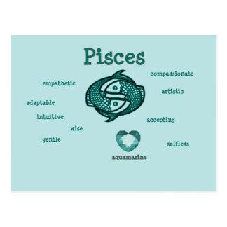 Pisces zodiac characteristics postcard