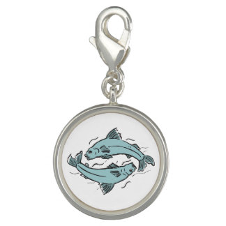 Pisces zodiac fishes blue grey art charm