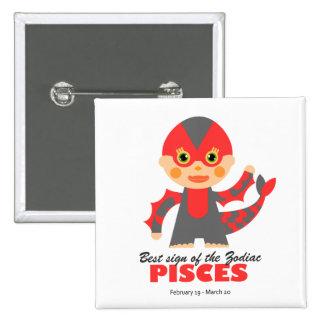 Pisces Zodiac for kids 15 Cm Square Badge