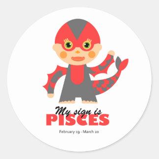 Pisces Zodiac for kids Round Sticker