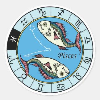 pisces zodiac round sticker