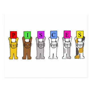 Pisces zodiac sign cats celebrating postcard