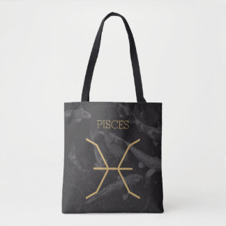 Pisces Zodiac Sign | Custom Background + Text Tote Bag