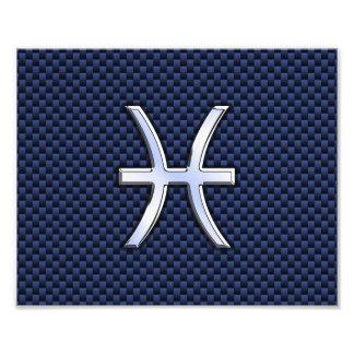 Pisces Zodiac Sign on Blue Carbon Fiber Print Art Photo