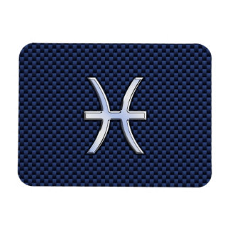 Pisces Zodiac Sign on Blue Carbon Fiber Print Rectangular Photo Magnet