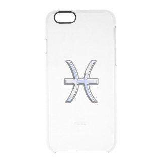 Pisces Zodiac Sign on Blue Carbon Fiber Print iPhone 6 Plus Case