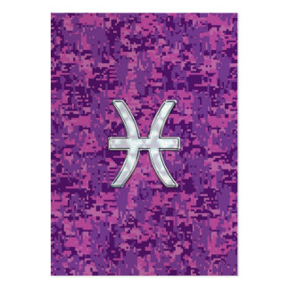 Pisces Zodiac Sign on Fuchsia Digital Camo Pack Of Chubby Business Cards