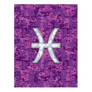 Pisces Zodiac Sign on Fuchsia Digital Camo Postcard