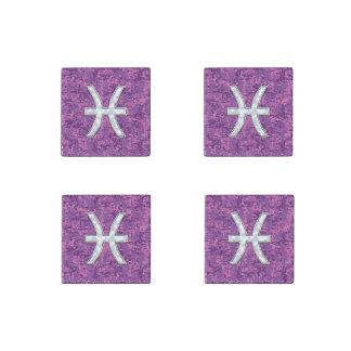 Pisces Zodiac Sign on Fuchsia Digital Camo Stone Magnet