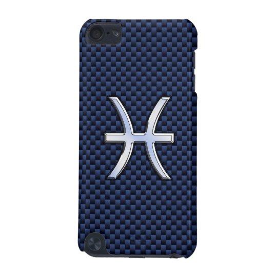Pisces Zodiac Sign on Navy Blue Carbon Fibre