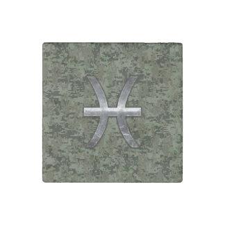 Pisces Zodiac Sign on Woodland Digital Camo Stone Magnet