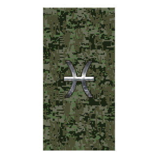Pisces Zodiac Sign on Woodland Digital Camouflage Photo Cards