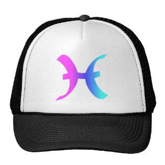 Pisces Zodiac Sign Pink Blue Aqua Gradient Symbol Cap