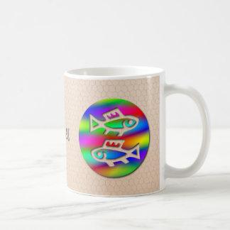 Pisces Zodiac Star Sign Rainbow Fish Ceramic Tea Basic White Mug