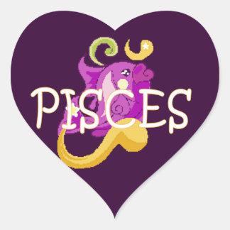 Pisces zodiac heart sticker