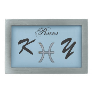 Pisces Zodiac Symbol Element by Kenneth Yoncich Rectangular Belt Buckle