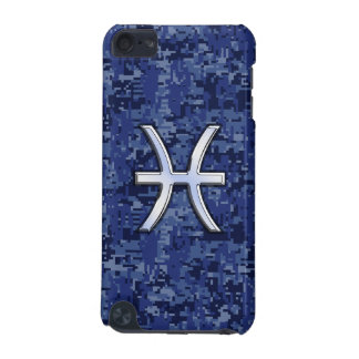 Pisces Zodiac Symbol Navy Blue Digital Camouflage iPod Touch (5th Generation) Covers