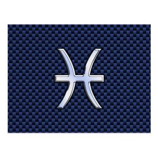 Pisces Zodiac Symbol on Blue Carbon Fiber Print Postcard