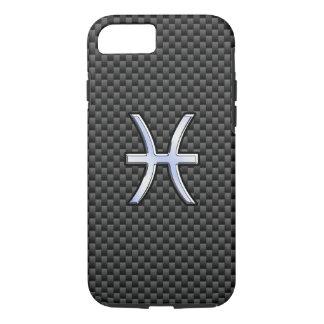 Pisces Zodiac Symbol on Carbon Fiber Print iPhone 7 Case