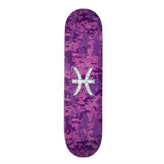 Pisces Zodiac Symbol on Fuchsia Pink Digital Camo 20 Cm Skateboard Deck