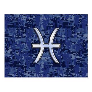 Pisces Zodiac Symbol on Navy Blue Digital Camo Postcard