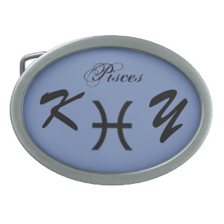 Pisces Zodiac Symbol Standard by Kenneth Yoncich Oval Belt Buckles