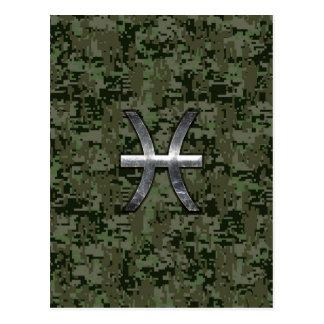 Pisces Zodiac Symbol Woodland Digital Camouflage Postcard