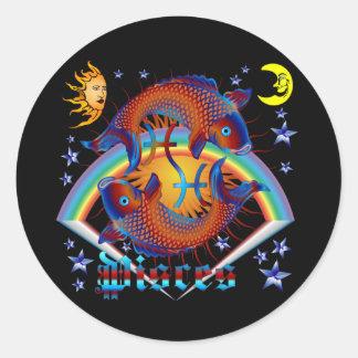 Pisces-Zodiac-V-1 Round Sticker