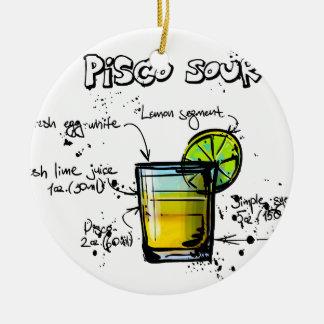 Pisco Sour Cocktail Recipe Round Ceramic Decoration