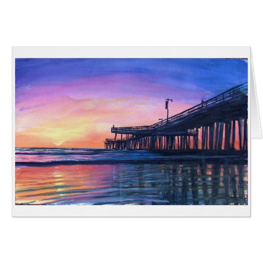 Pismo Pier Original Watercolor Blank Greeting Card