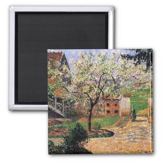 Pissaro: Flowering Plum Tree by Camille Pissaro Square Magnet