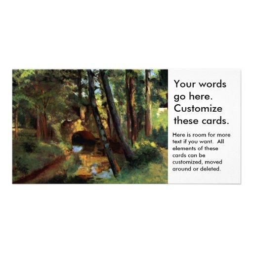 Pissarro landscapes bridge Pontoise France art Personalized Photo Card