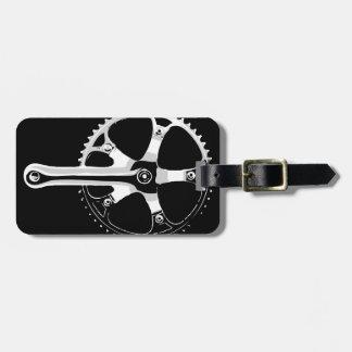 Pista Bicycle Crankset - white on black Luggage Tag