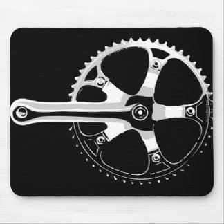 Pista Bicycle Crankset - white on black Mouse Mat