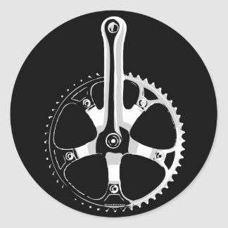 Pista Bicycle Crankset - white on black Round Sticker