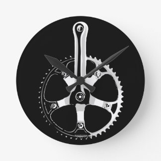 Pista Bicycle Crankset - white on black Wallclocks