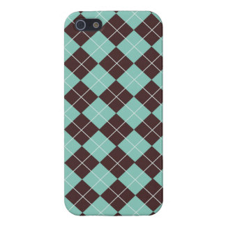 Pistachio Green and Chocolate Brown Argyle Pattern Case For The iPhone 5