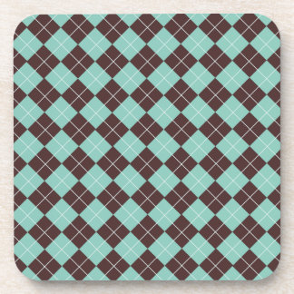 Pistachio Green and Chocolate Brown Argyle Pattern Coaster