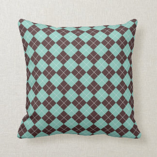 Pistachio Green and Chocolate Brown Argyle Pattern Cushion