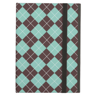 Pistachio Green and Chocolate Brown Argyle Pattern iPad Air Cover