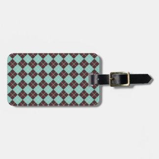 Pistachio Green and Chocolate Brown Argyle Pattern Luggage Tag