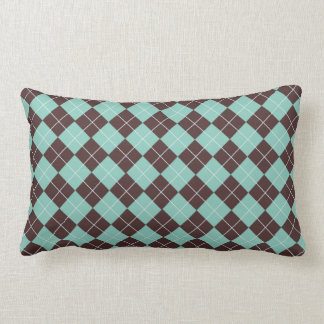 Pistachio Green and Chocolate Brown Argyle Pattern Lumbar Cushion