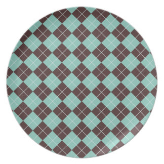 Pistachio Green and Chocolate Brown Argyle Pattern Plate