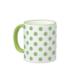 Pistachio Green Polka Dots Circles Ringer Mug