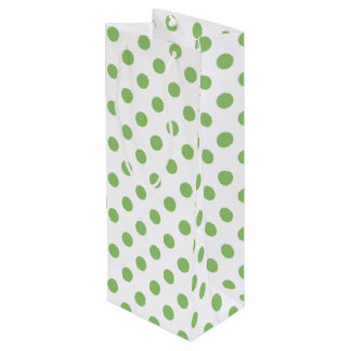 Pistachio Green Polka Dots Circles Wine Gift Bag