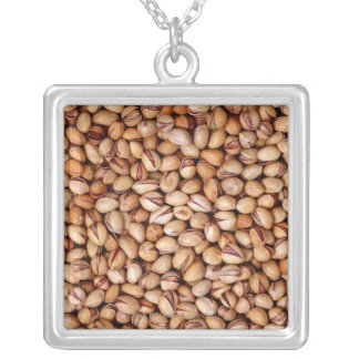 Pistachio Nuts Silver Plated Necklace